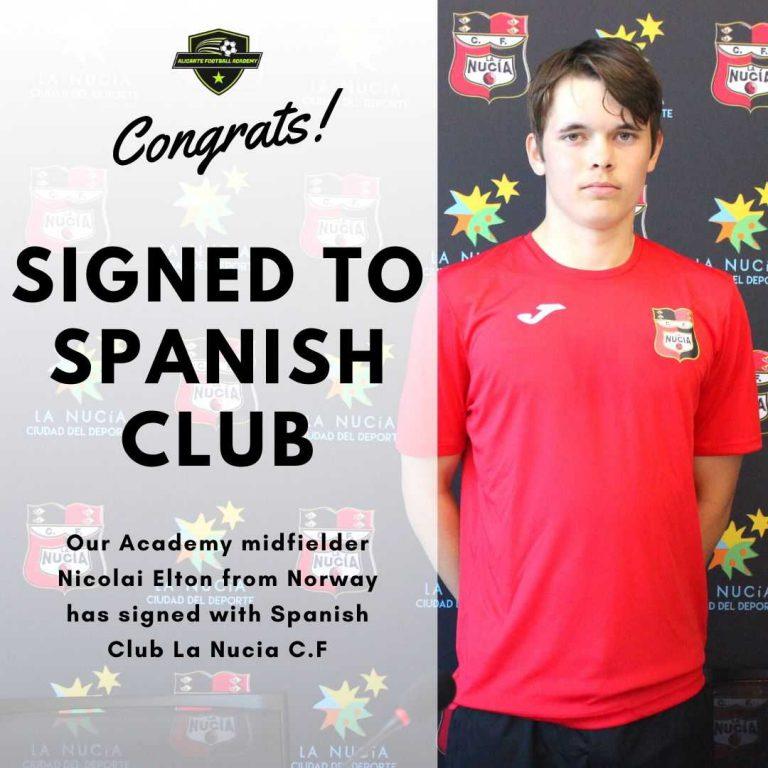 Alicante football academy player signed in la nucia