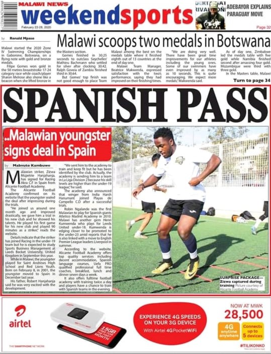 Alicante football academy player in newspaper