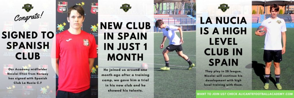 Norwegian player signing for football academy in spain