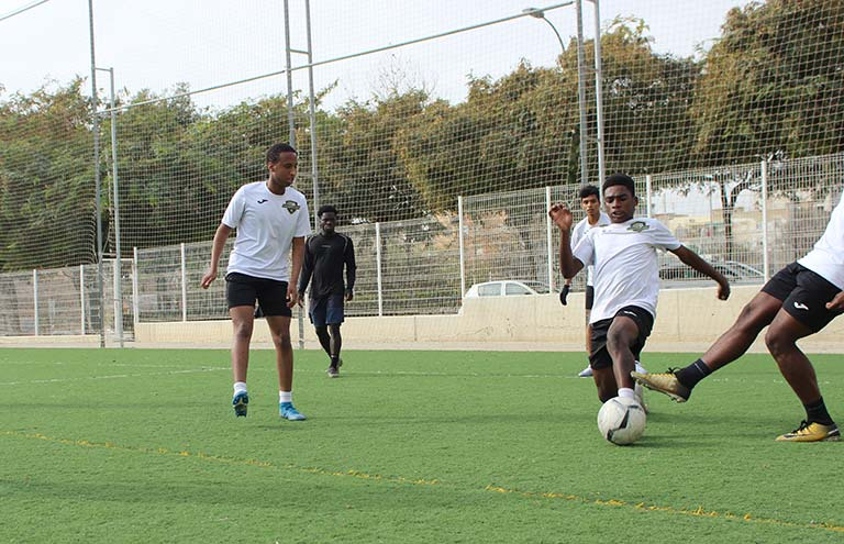 football session in soccer trials in spain